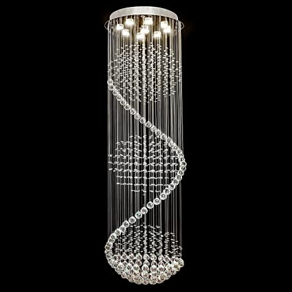 Best Choice Products Modern LED Spiral Rain Drop Chandelier Lighting  Fixture For Living Room, Hallway