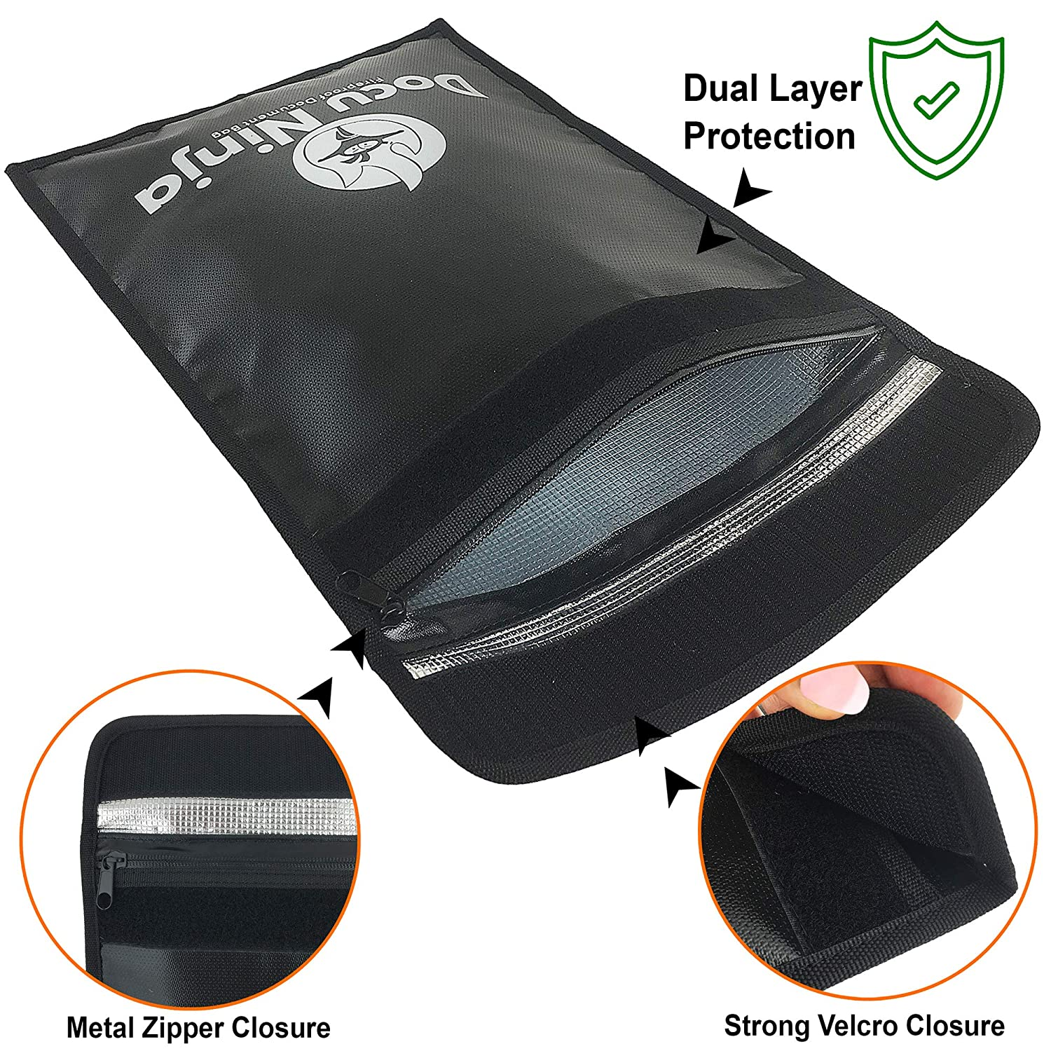 Fireproof Document Bags Legal Size|Fireproof Safety Boxes for Home DOCU NINJA Waterproof Fireproof Document Bags Small Fireproof Document Bags Non-Itchy Fire Proof Water Proof Safe Document Holder