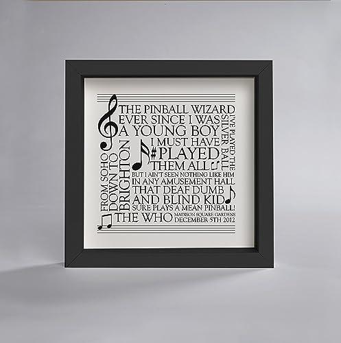 Amazon.com: Bespoke song words frame - designed for all music lovers ...