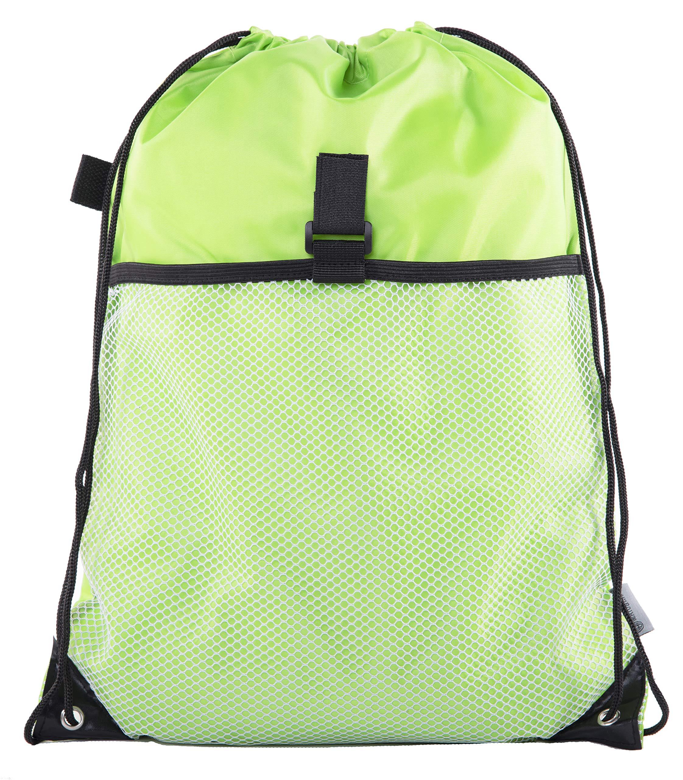 Mato & Hash Drawstring Cinch Bag Backpack With Mesh Pocket Polyester Tote Sack