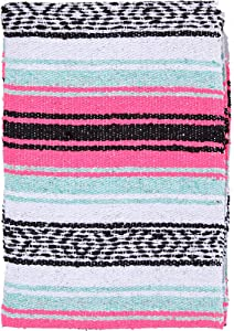 El Paso Designs Mexican Yoga Blanket Colorful 51in x 74in Studio Mexican Falsa Blanket Ideal for Yoga, Camping, Picnic, Beach Blanket, Bedding, Home Decor Soft Woven (Pink and Mint)