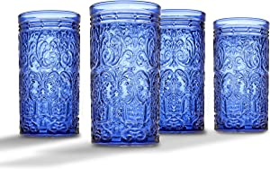 Jax Highball Beverage Glass Cup by Godinger – Blue – Set of 4