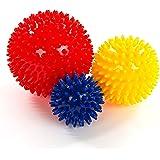 Meglio Igelball Massageball 3er Set – Noppenball Perfekt für den Stress Reflexologie und Triggerpunkt-Massagen – 6cm, 8cm, 10cm – kostenloser Übungs-Guide inbegriffen (Rot, gelb, blau)