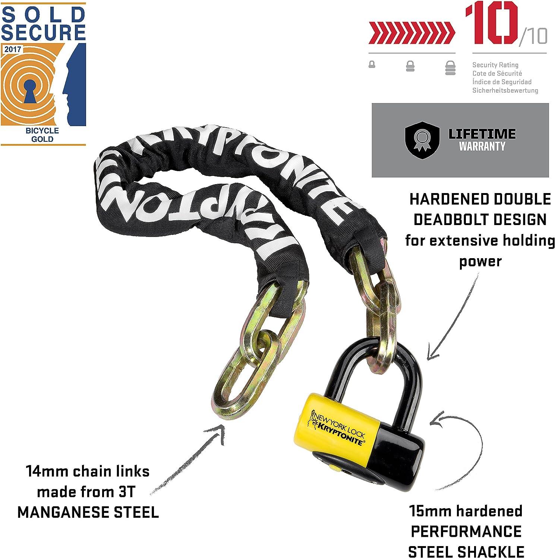 5/' NEW Kryptonite New York Fahgettaboudit Bike Chain 1415 and Disc Lock 150cm