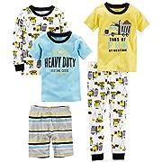 Carter's Boys' 5-Piece Cotton Snug-Fit Pajamas, Construction, 9 Months