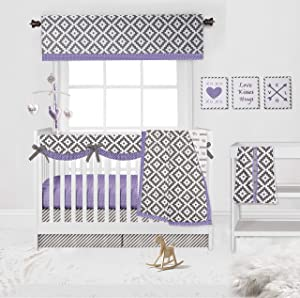Bacati - Love 10 pc Crib Set 100 Percent Cotton Percale Fabrics, Lilac/Grey Girls (10 pc Crib Set with Long Side Crib Rail Guard)