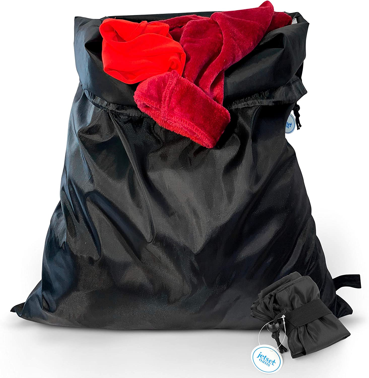 """Jetset Oasis 2 Pack Travel Laundry Bags – Premium Thick Nylon· Large Heavy Duty · Ultra Compact for Luggage · Lightweight · Machine Washable · Drawstring Closure -Best For Travel Cruises Gym 24"""" x 30"""""""