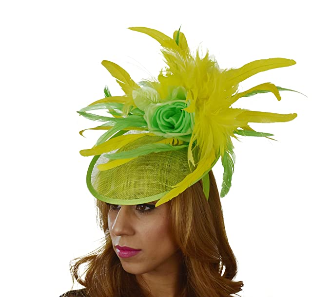 Hats By Cressida Yellow   Lime Feather Wedding Ascot Races Hat ... 4664e23b57a