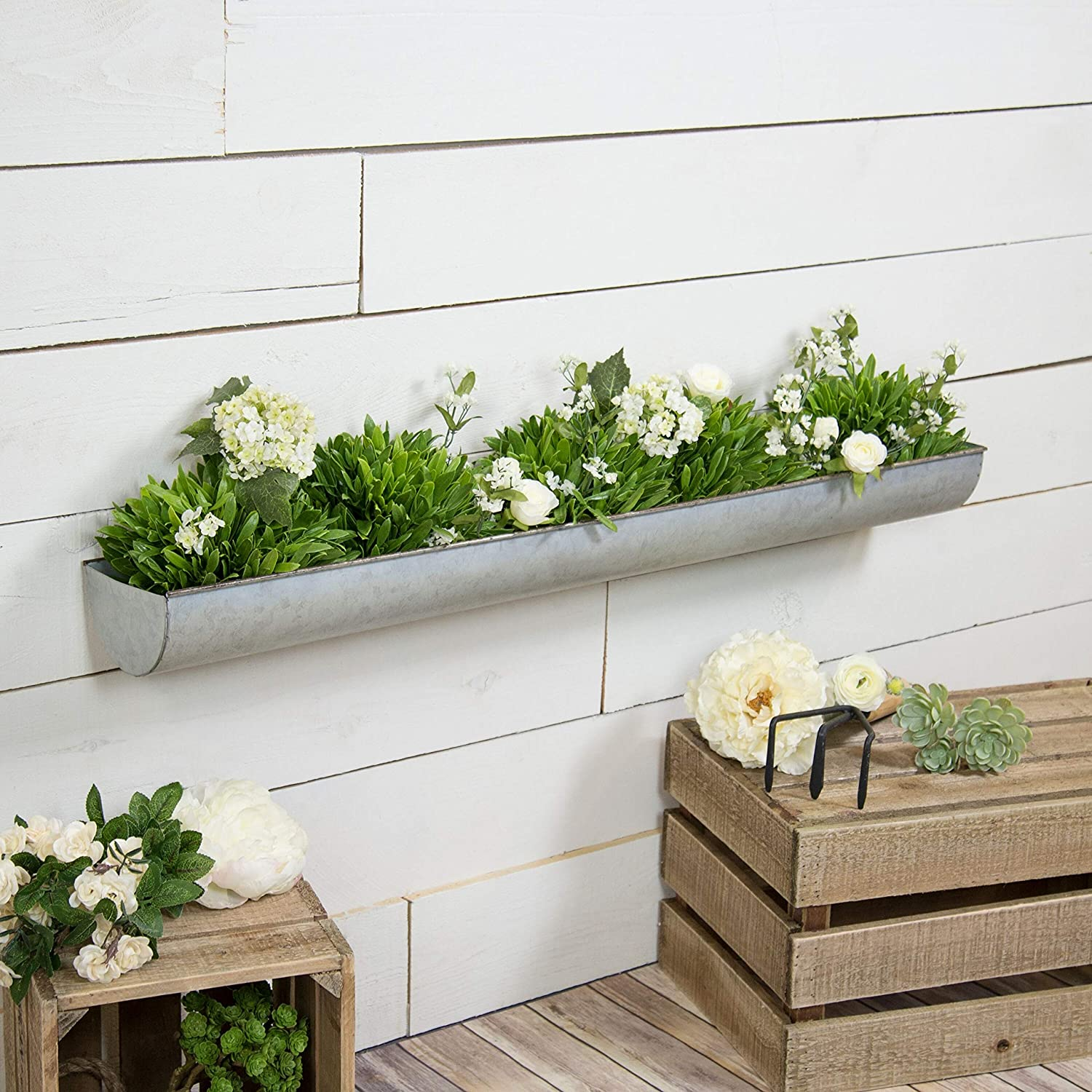 36 Metal Wall Planter Decorative Natural Metal Tray Style Wall Mounted Plant Holder