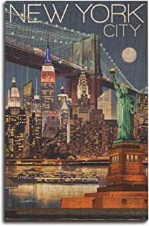 product image for Lantern Press New York - Skyline at Night (10x15 Wood Wall Sign, Wall Decor Ready to Hang)