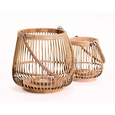 WHW Whole House Worlds Key West Belly Hurricane Lanterns, Set of 2, Bamboo Lattice, Rope Handle, Glass Candle Holders, 12 1/4 and 8 1/4 inches in Diameter