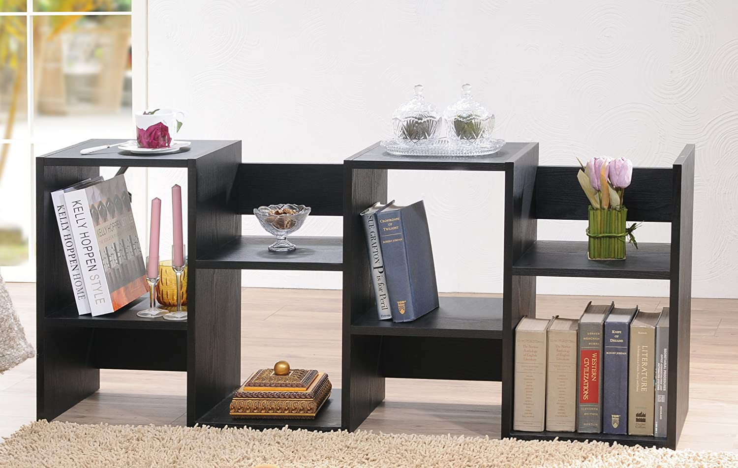 Enitial Lab Cosmo Open Back Bookcase, Black: Amazon.co.uk: Kitchen u0026 Home