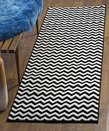 Black Chevron Striped Rug, 2 Foot 7 Inch X 7 Foot 10