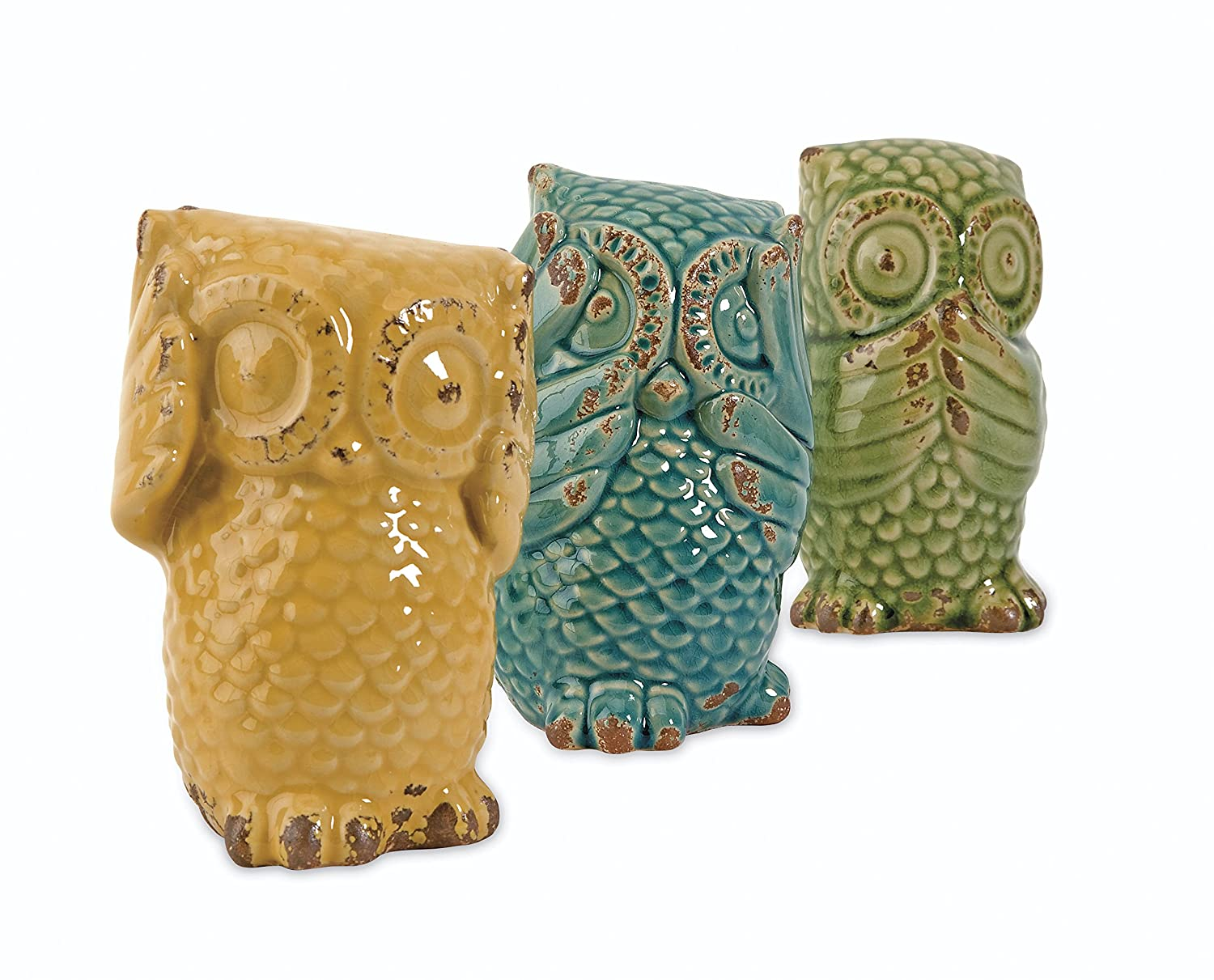 Imax 69230-3 Wise Owls Set of 3 Ceramic Statuaries, Handcrafted Decor Accessories, Vintage-Inspired Showpieces. Home Decor