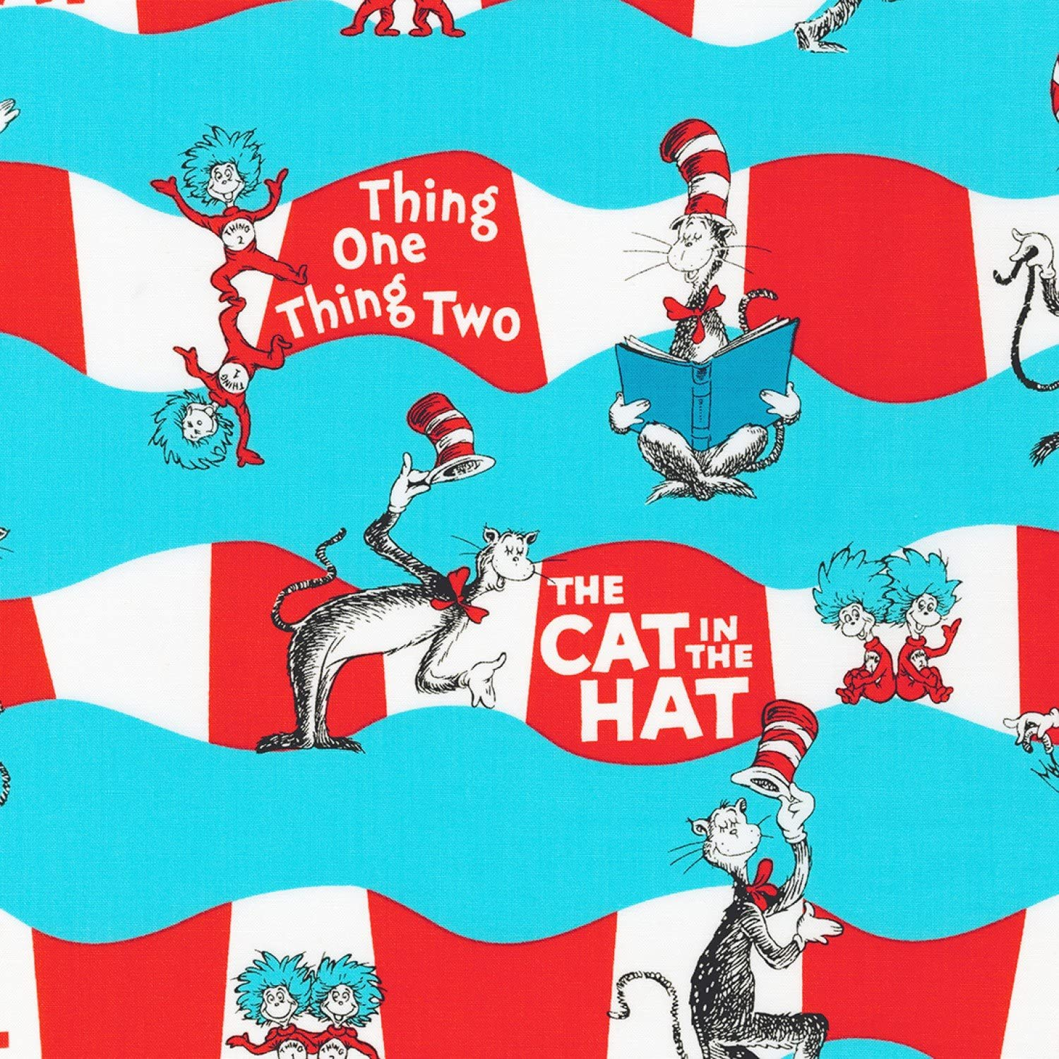 Cat in the Hat blue Dr Seuss Celebration Kaufman fabric
