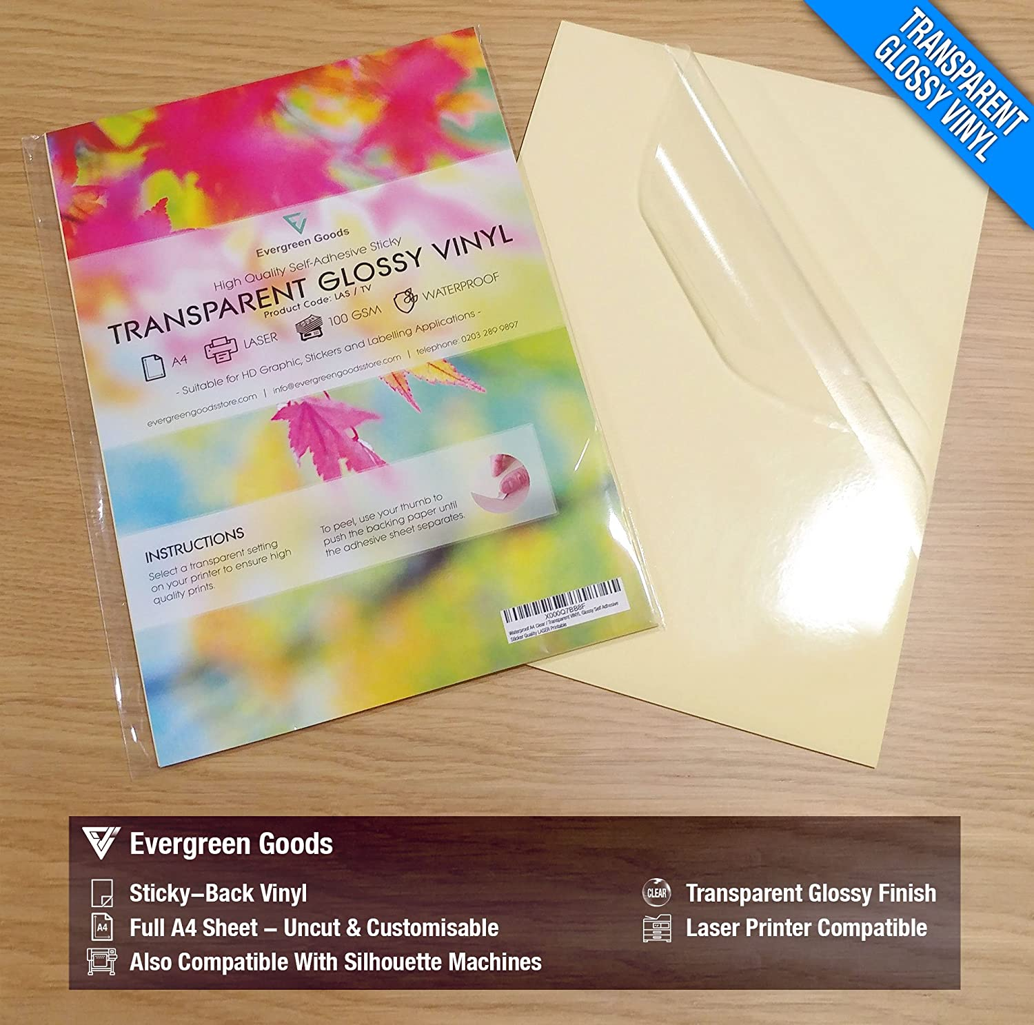 image regarding Transparent Printable Vinyl referred to as 20 Sheets Excellent Water-proof A4 Crystal clear/Clear Vinyl