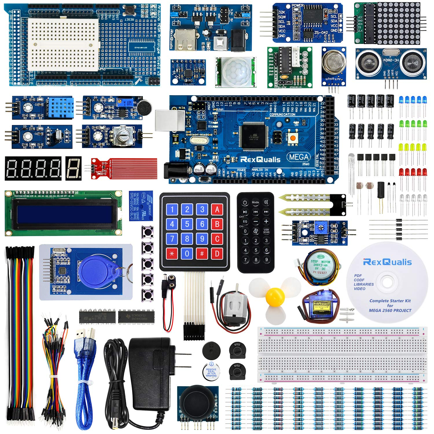 REXQualis Arduino Mega 2560 Kit The Most Complete Ultimate Starter Kit w/Detailed Tutorial for Arduino Mega2560