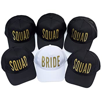 76634c98f56ce Image Unavailable. Image not available for. Color  6 Pack Bride Squad  Baseball Hat Bachelorette Party Bridal Wedding ...