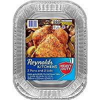 "Reynolds Disposable Aluminum Foil Roaster Pans With Lids - 12x9"", 3 packages of 2 pans (6 Total)"