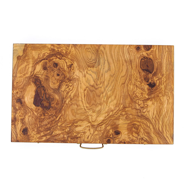 【高額売筋】 Backgammon Board Game Handmade, Olive Wood Large Wood Board (48x30cm - Handmade, 18.9x11.8