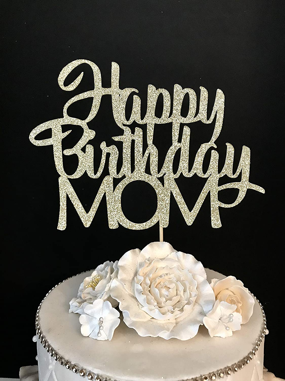 Marvelous Amazon Com Happy Birthday Mom Cake Topper Arts Crafts Sewing Personalised Birthday Cards Arneslily Jamesorg