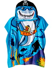 Northpoint Monster Truck Kids Toalla de Playa con Capucha para niños, Tradicional, Pirate Shark, Doble, 1