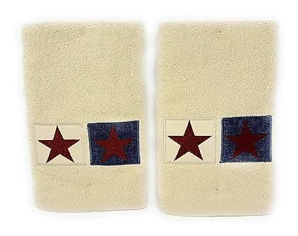 Nantucket Home bordado estrellas en cuadrados baño toallas de mano, 2-pack