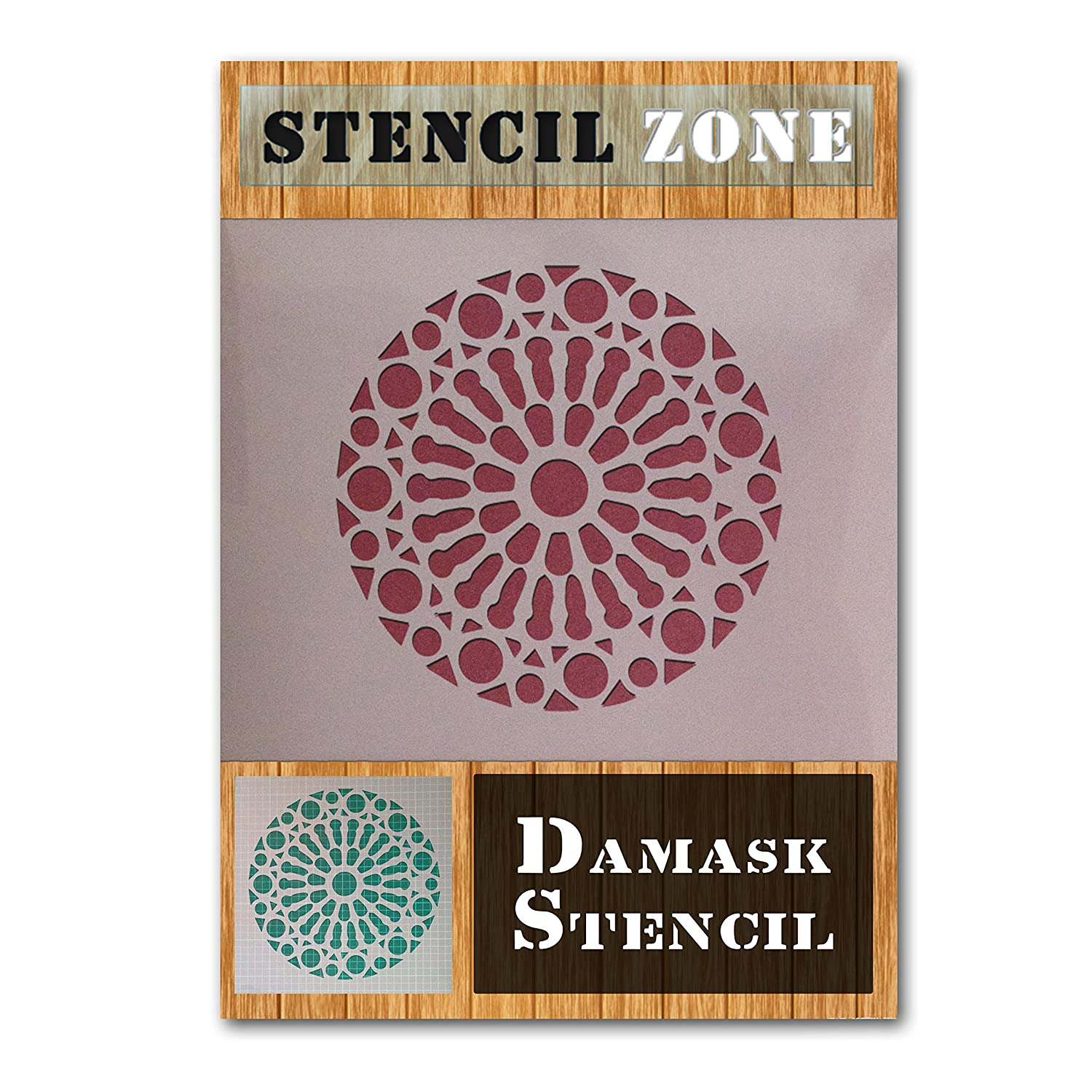 Damask Rosette Vintage Shabby Chic Mylar Air Brush Painting Wall Art Stencil (A5 Size Stencil - XSmall) STENCIL ZONE
