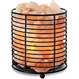 TULA Himalayan Salt Crystal Lamp with Metal Basket and Dimmer Switch with Plug