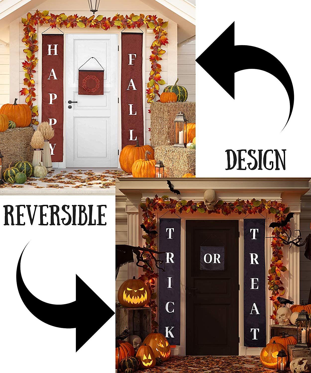 Fall Decor Halloween Decorations Reversible Trick Or Treat Happy Fall Banner Durable 3 Piece Set Perfect For Front Door Home Or Office Party Decor