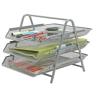 Metal Oficina Archivo de Escritorio y documento organizador bandejas, revistero de: Amazon.es: Oficina y papelería