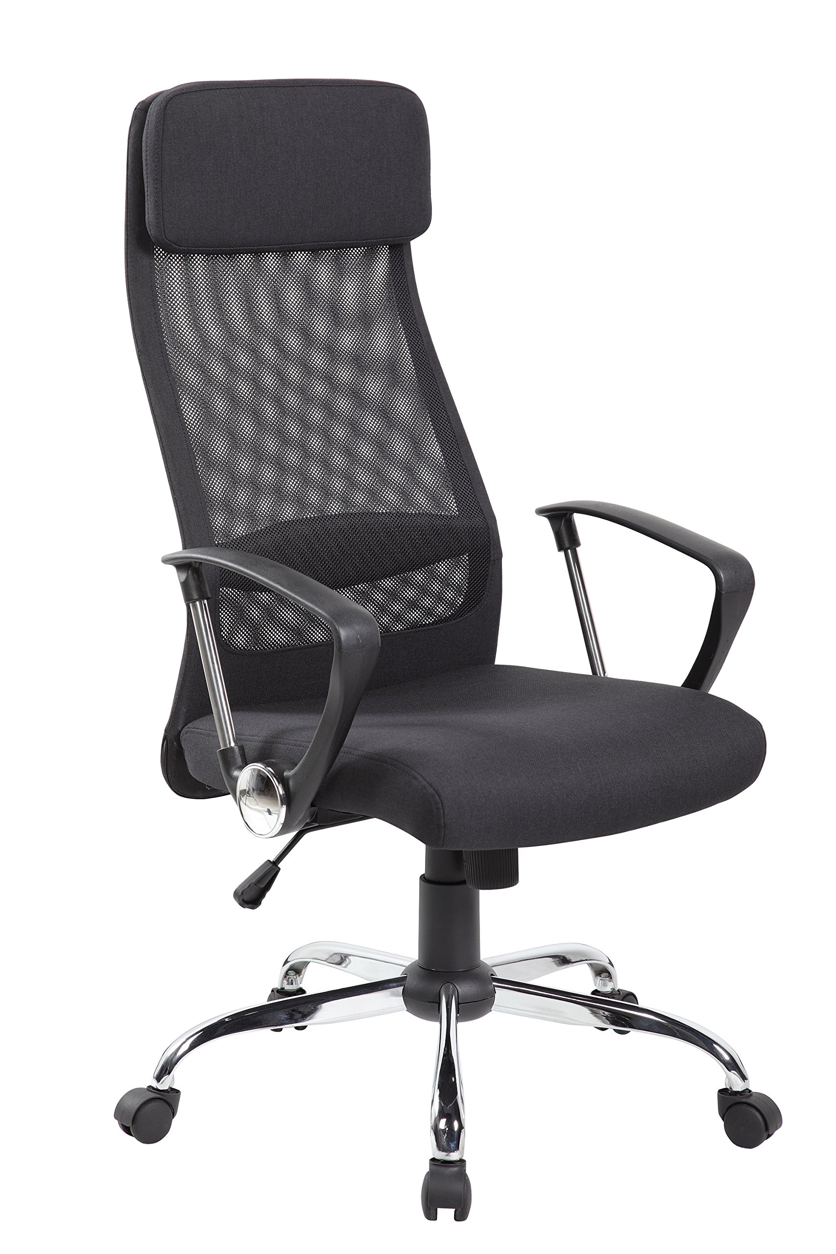 United Seating High Back, Mesh and Fabric, Executive and Managerial Computer Desk, Swivel Office Chair with Fabric Upholstery Headrest and Seat