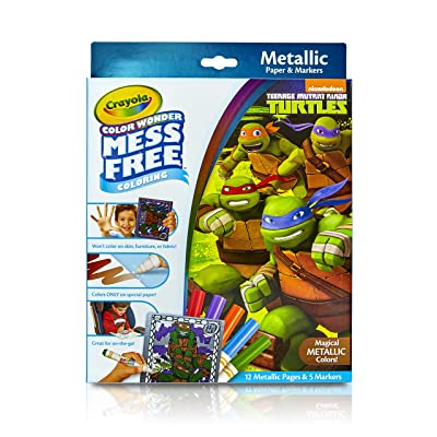 Crayola Color Wonder Nickelodeon Teenage Mutant Ninja Turtles Mess-Free Coloring Metallic Paper & Markers Set Art Gift for Kids & Toddlers 3 & Up, Markers Won't Mark Walls, Clothes or Furniture: Toys & Games