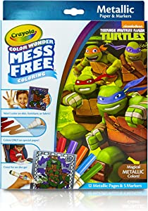 Crayola Color Wonder Nickelodeon Teenage Mutant Ninja Turtles Mess-Free Coloring Metallic Paper & Markers Set Art Gift for Kids & Toddlers 3 & Up, Markers Won't Mark Walls, Clothes or Furniture