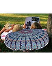 """ICC Bohemian Ombre Indian Mandala Pouf / Floor Cushion Cover,Organic Cotton, Hand Printed, 30"""" Christmas gift, Christmas Decoration, House furnishing Item"""