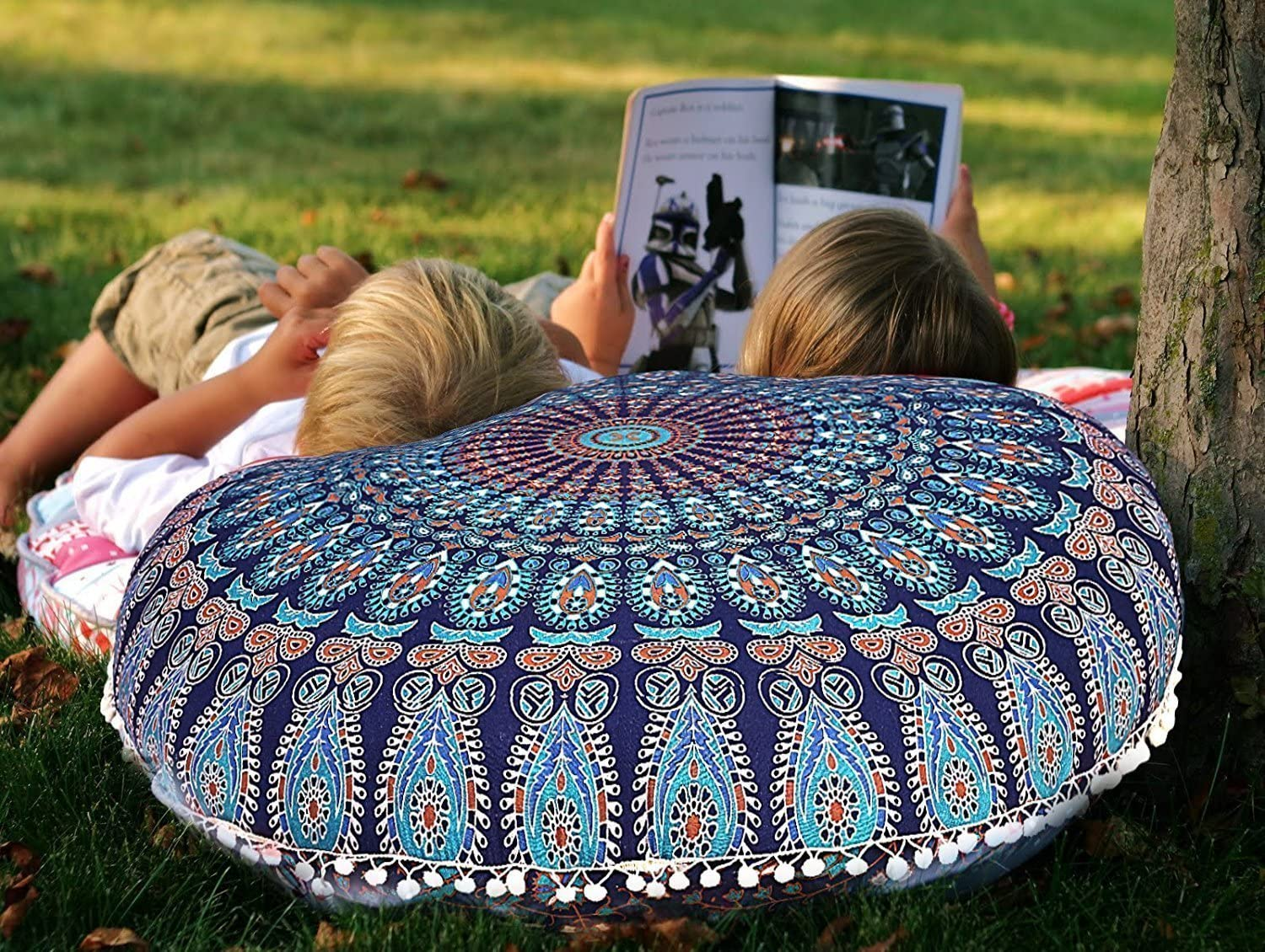 House furnishing Item 30 Christmas gift Christmas Decoration Hand Printed ICC Bohemian Ombre Indian Mandala Pouf // Floor Cushion Cover,Organic Cotton