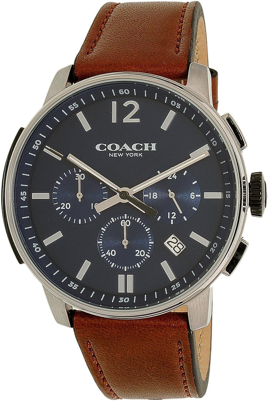 6492d07aae COACH Men's Bleecker Chrono Leather Matte Navy Watch