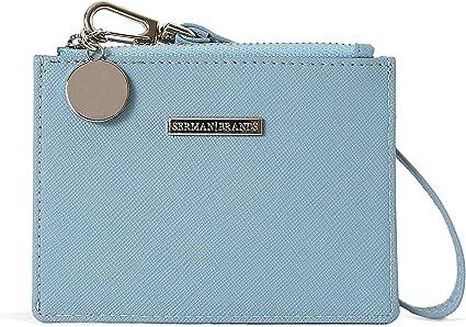 SERMAN BRANDS Slim Wristlet Card Case Holder Small RFID Blocking Wallet Change Purse for Women Keychain