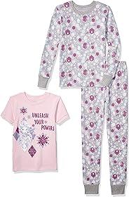 Spotted Zebra Girls' Frozen 3-Piece Snug-fit Cotton Pajama Set