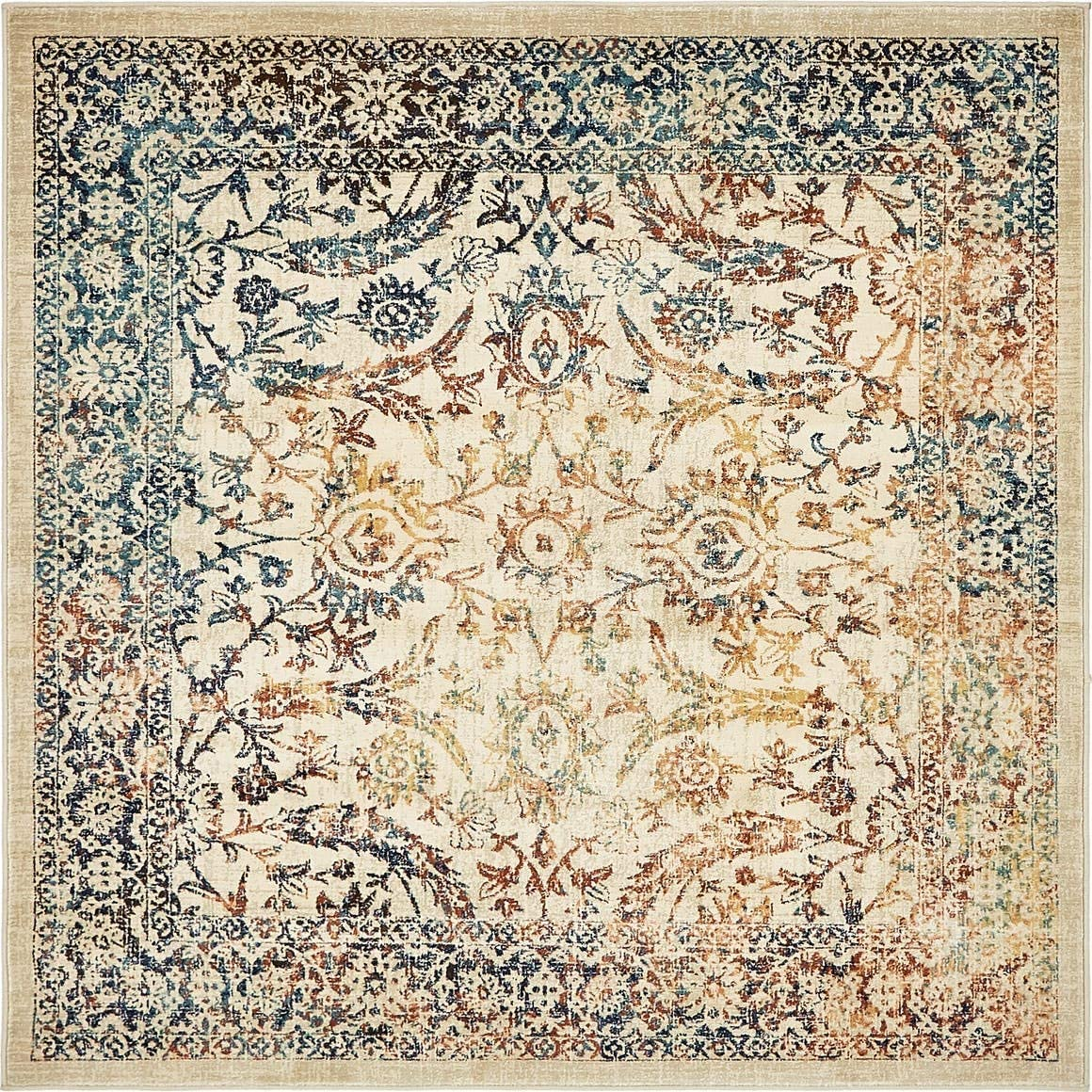 Unique Loom Oslo Collection Distressed Over-Dyed Botanical Tradtional Beige Square Rug 6 x 6