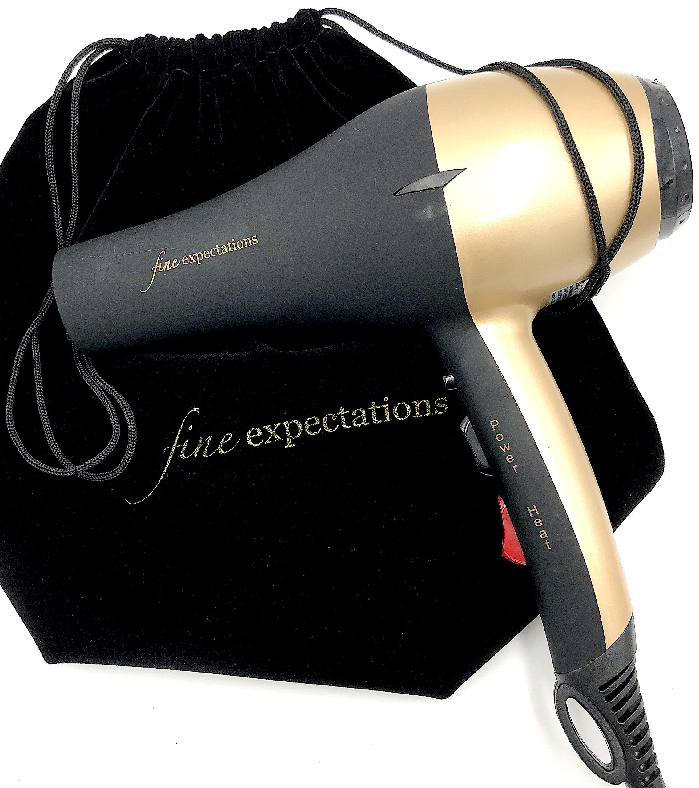 LIMITED TIME SPECIAL! PROFESSIONAL CERAMIC HAIR DRYER - Advanced Infrared and Ionic Blow Dryer with Long-Life Salon A/C Motor, Very Hot, Hot, Cool AND Instant Cool Shot, 1900W 8' Cord, Velvet Pouch by Fine Expectations (Image #4)