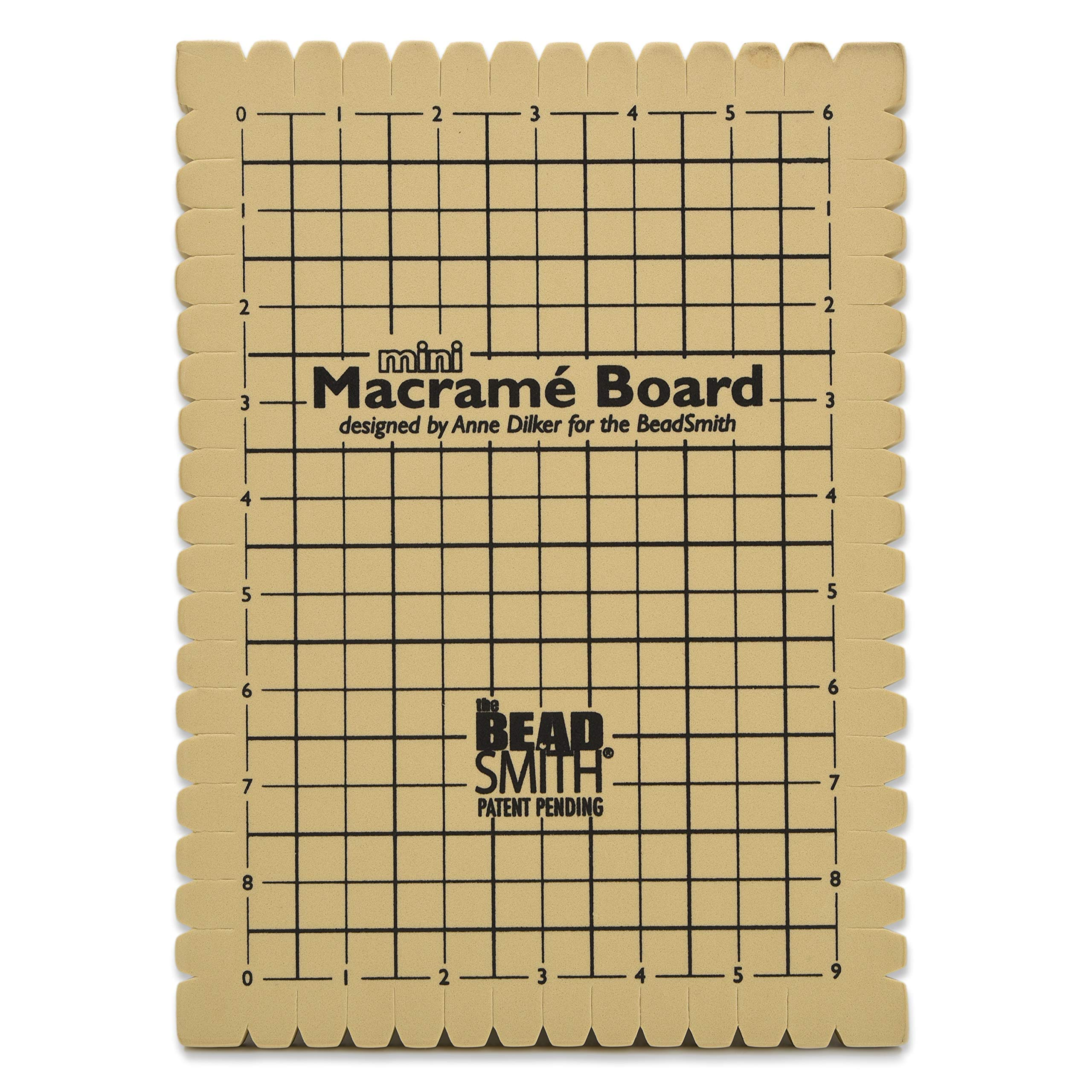 """The Beadsmith Mini Macrame Board, 7.5 x 10.5 inches, 0.5 inch thick foam, 6 x 9"""" grid for measuring, bracelet project with instructions included, create macrame and knotting creations"""