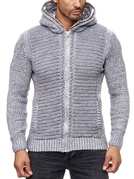am besten kaufen hochwertige Materialien unverwechselbarer Stil Reslad Herren Strickjacke warme Kapuzenjacke Fell-Kapuze Winter-Jacke  RS-18002