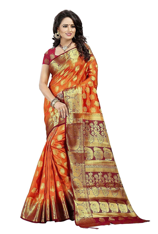 Multicolored Banarasi Silk Saree With Blouse Piece