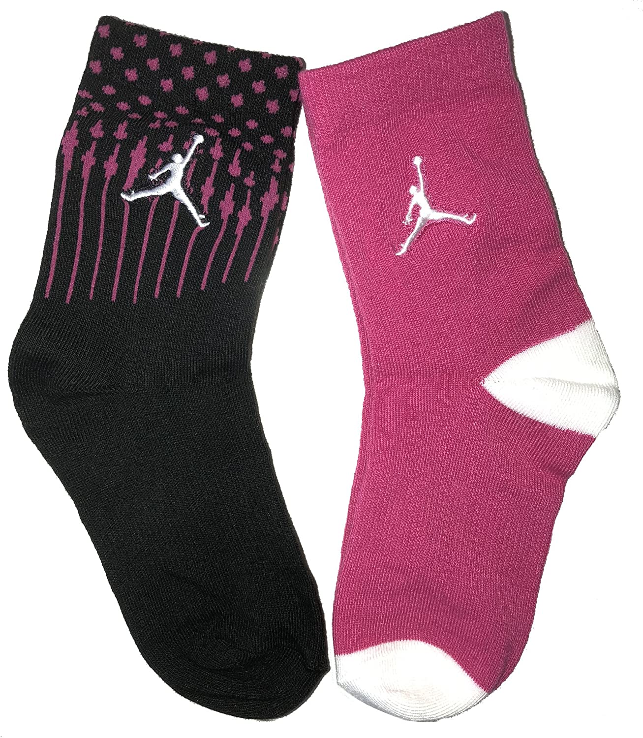 NIKE Jordan Jumpman Socks Size 5Y-7Y Kids White /& Black High Crew 2 Pair