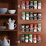 CAXXA 50 Clear Adhesive Spice Gripper Strip Clips with Extra Support, Spice Rack Dispenser, Kitchen Cabinet Holder, 10…