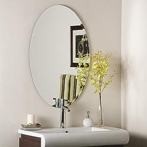 Decor Wonderland Flawless Frameless Oval Beveled Mirror