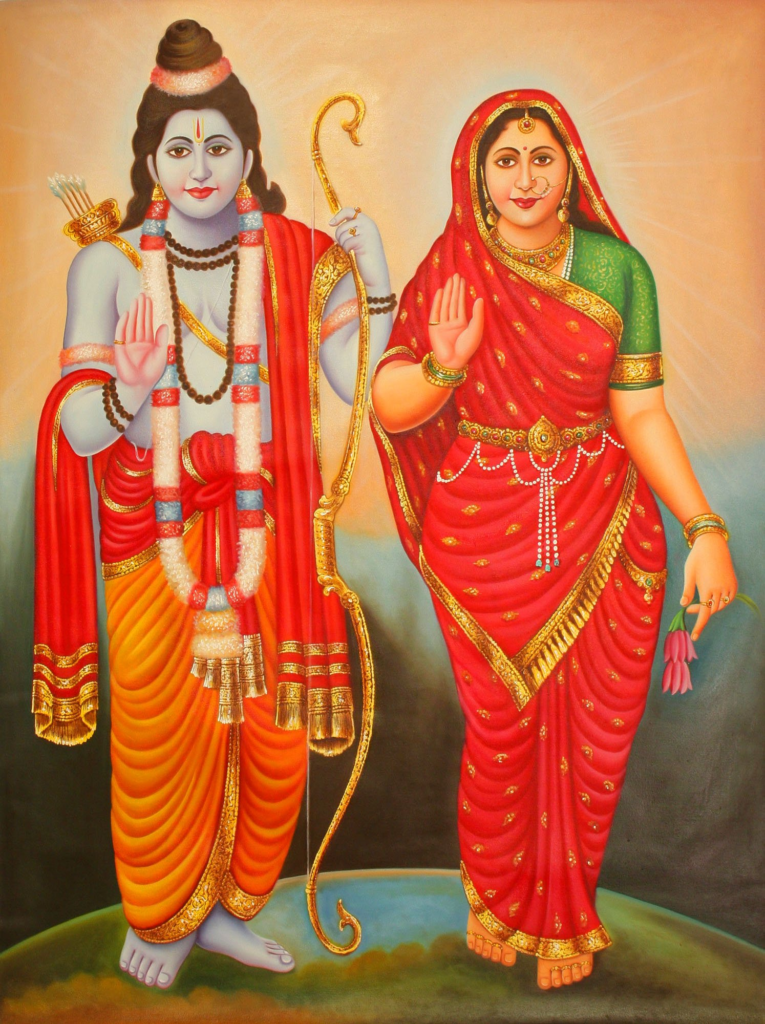 Blessing Goddess Sita and Lord Rama - Oil on Canvas