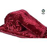 Goyal's Luxurious Embossed Korean Mink Single Bed Blanket Heavy - Maroon