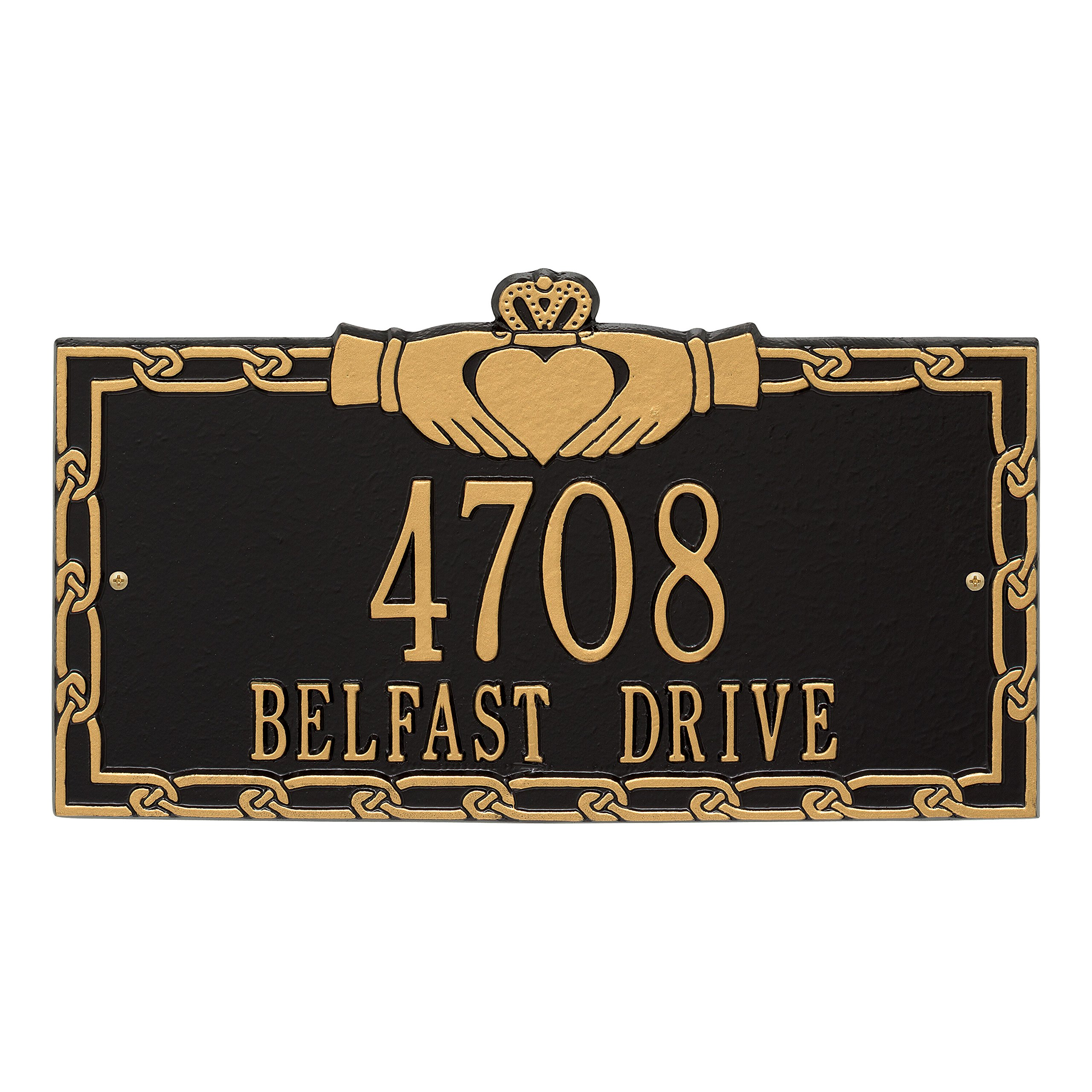 Whitehall Personalized Indoor/Outdoor Cast Irish Claddagh Address Plaque Sign with House Number and Street Name (Black Gold)